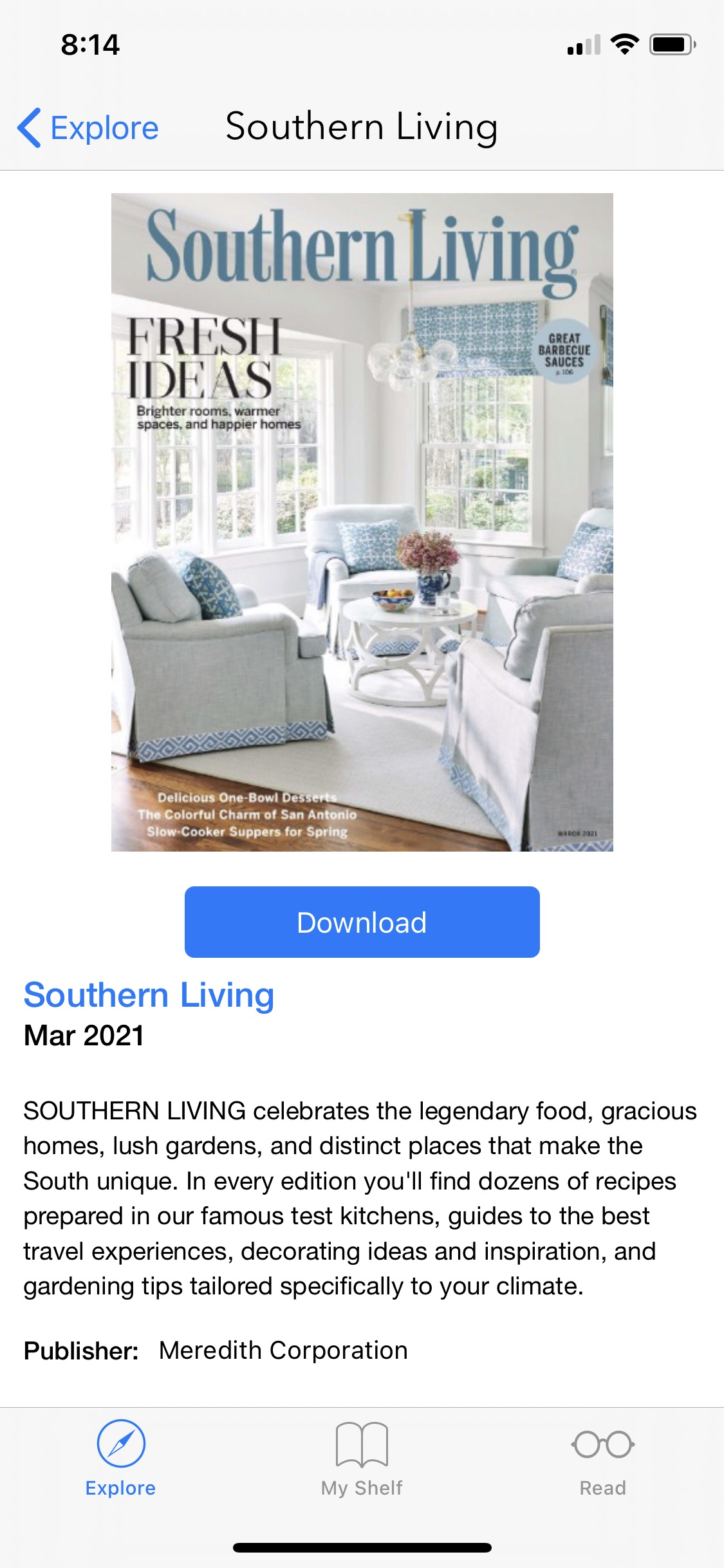 screenshot of the Flipster app featuring an issue of Southern Living magazine