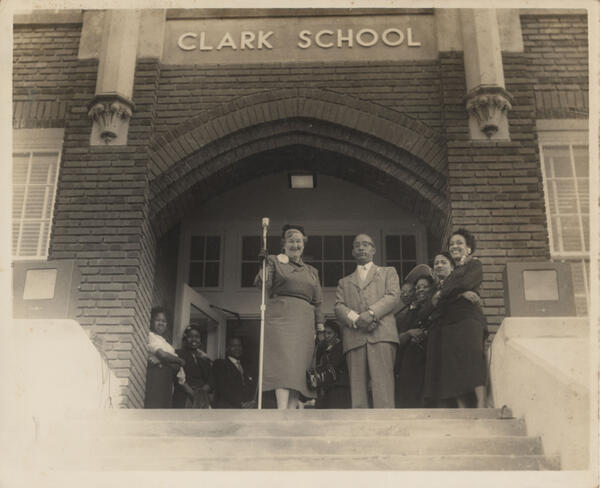 Eleona Brinsmade, visiting teacher with the Monroe City School System, stands left of B.D. Robinson, principal. The photo was taken for the opening of Clark School (originally Monroe Colored High) after redecorating for the 1953-54 school year.