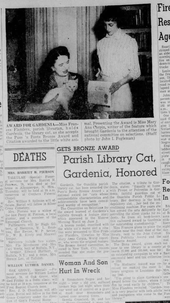 A newspaper clipping depicting Gardenia