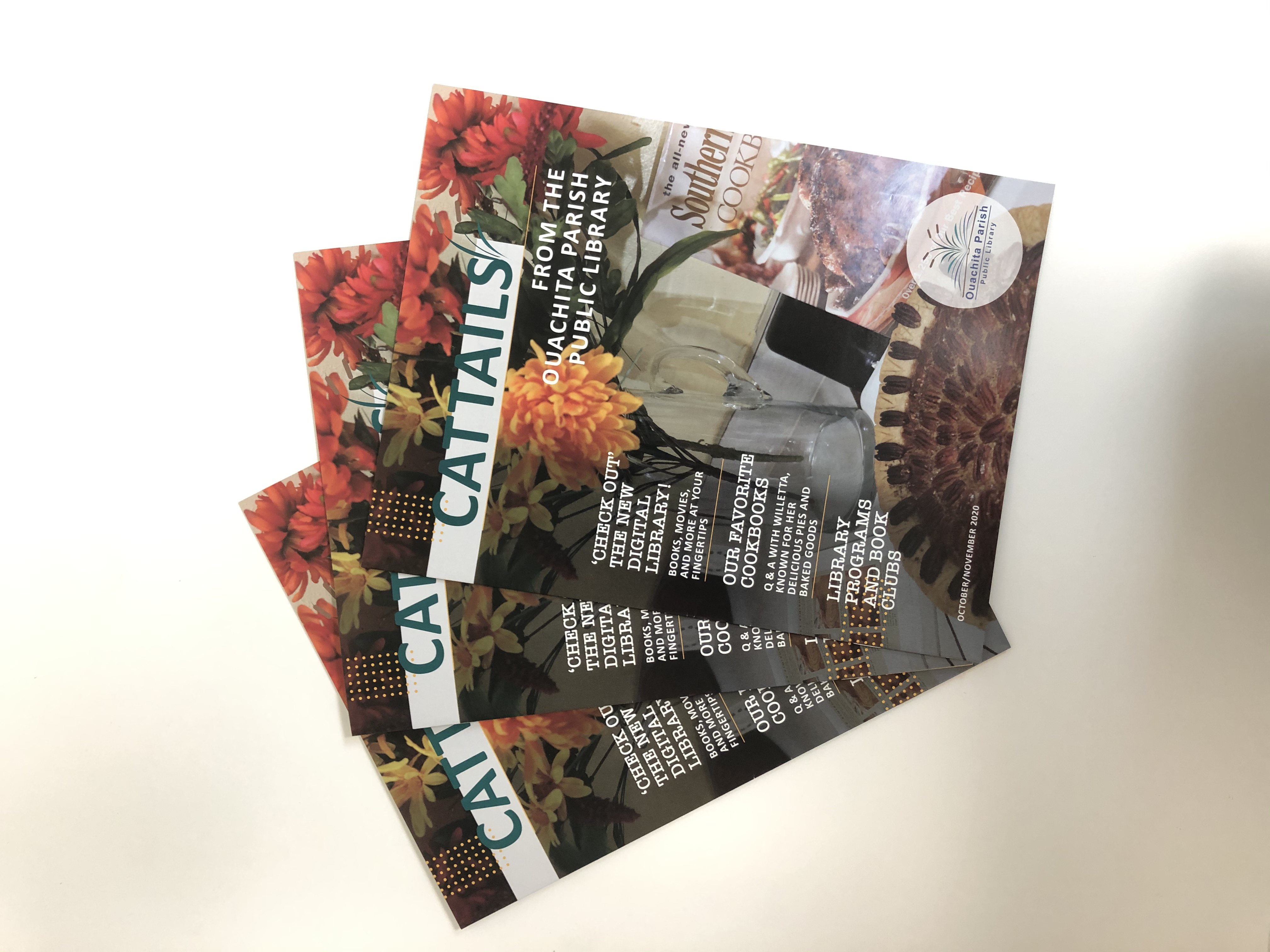 Three issues of the October/November Cattails lay on a white table